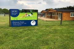 Day care centre sign and cabin